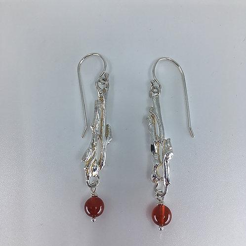 Twig Earrings with Carnelian Beads
