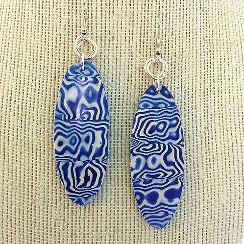 Blue and White Mokume Gane Earrings