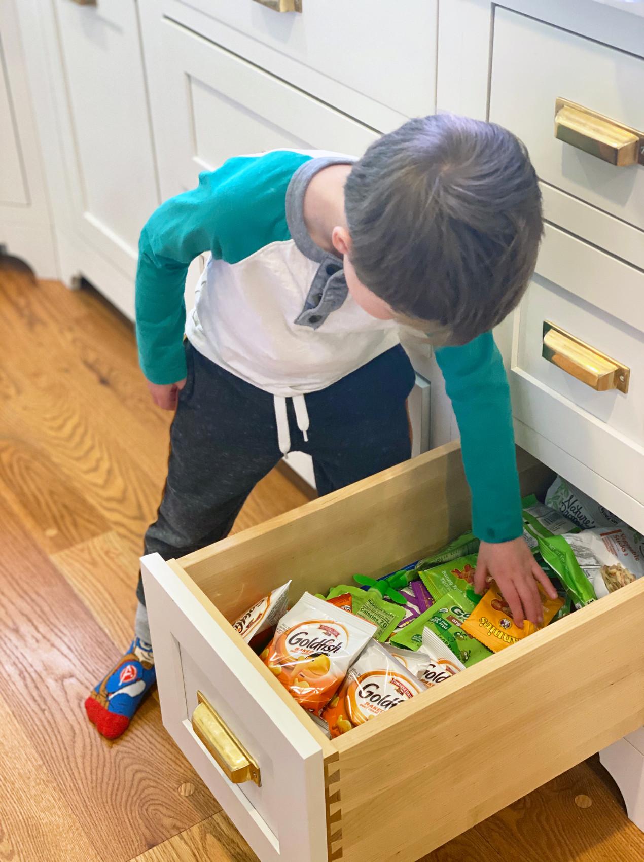 rye modern tudor, snack drawer, kids independence fridge, family friendly design