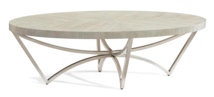 gray oak top, chevron matched oak, oval-inspired, steel base and finished in pewter.