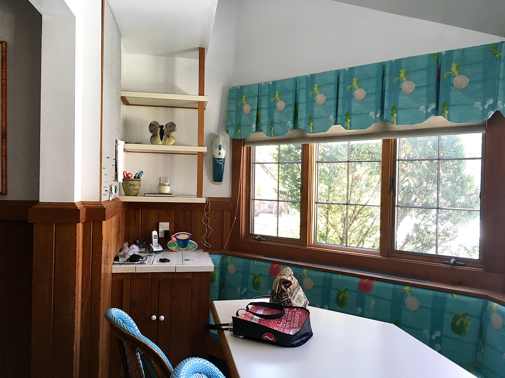 1930's rye storybrook tudor home, renovation, kitchen eat-in banquette