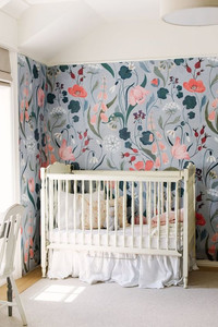 Floral nursery, blue pink and green, interior design, wooden crib