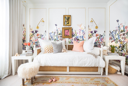 Floral nursery, multi-color flowers, floral wallpaper, interior design, day bed