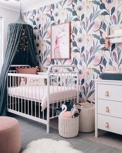 Floral nursery, blues and purples, interior design