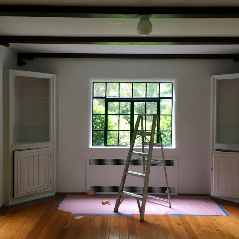 renovation in Tudor home, white painted walls, dining room