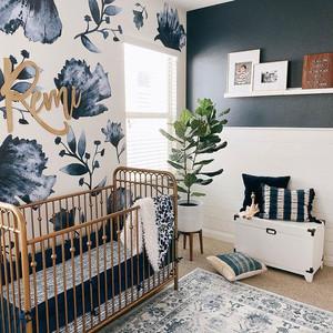 Floral nursery, blue and white, interior design, fiddle leaf fig, brass crib