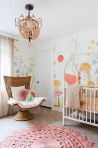 Floral nursery, white orange and multi-color, interior design