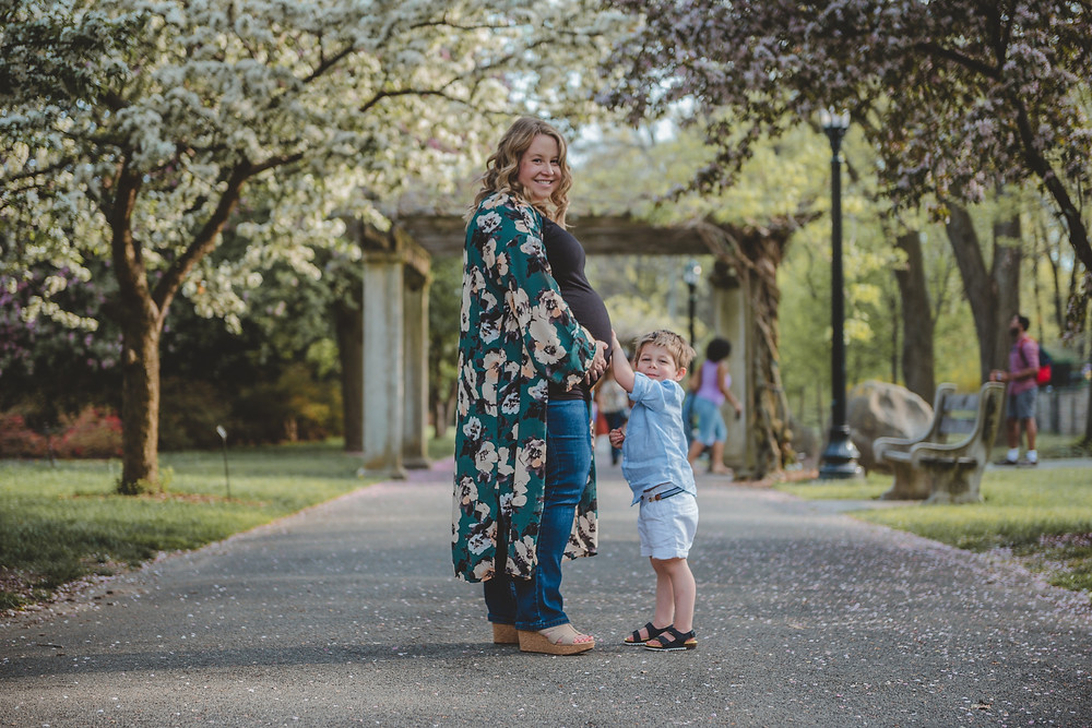 Erin Coren, interior designer, co-founder and principal at Curated Nest Interiors with son