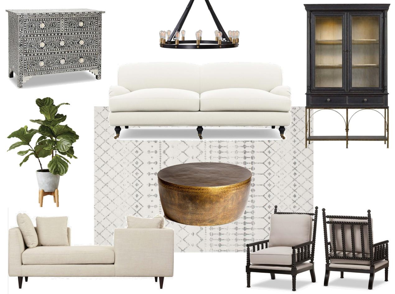modern tudor interior design moodboard, family friendly