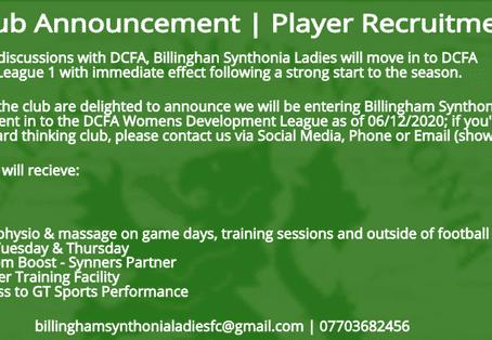 Ladies First Team promoted Mid Season, Brand NEW Development team enter DCFA Development League.