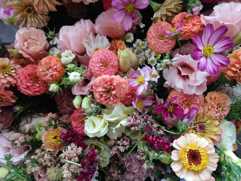 Aromatic Acres' mixed bouquets ready for the TOSA Farmers Market