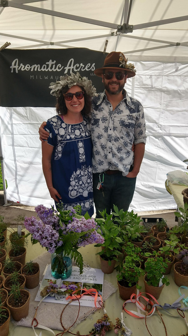 Aromatic Acres' farmers, Carly & Joe at a Strange Town's Rose All Day plant sale