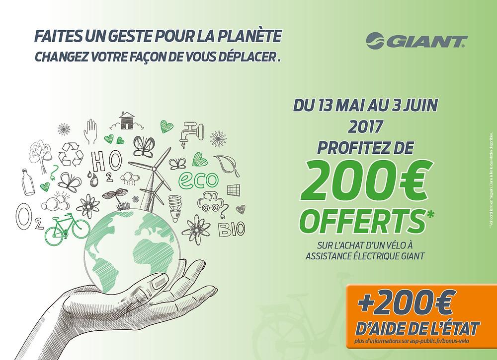 Profitez de 200€ offerts sur l'achat d'un vélo à assistance électrique Giant en plus du bonus écologique de l'état ! Offre valable du 13 mai au 3 juin 2017.