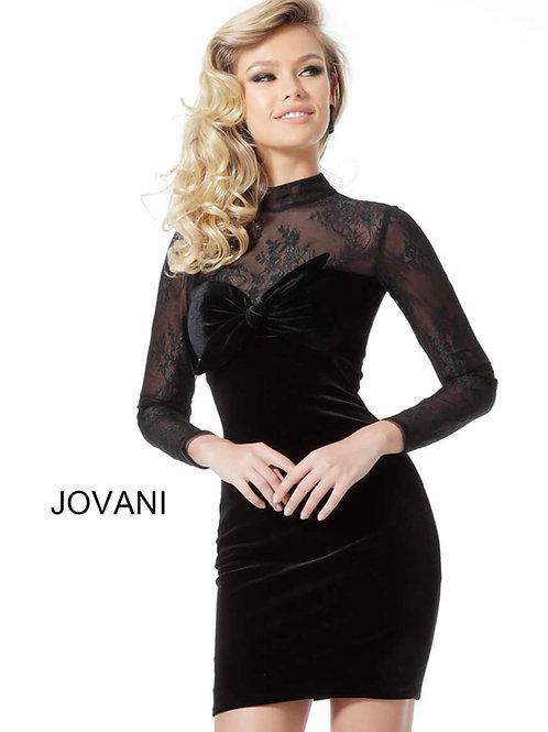 Jovani Velvet Black Cocktail Dress