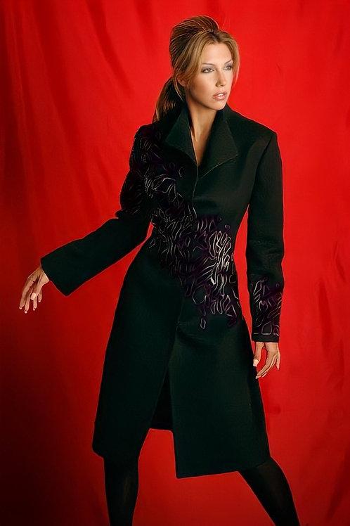 Liliana Castellanos Black Embroidered Alpaca Coat