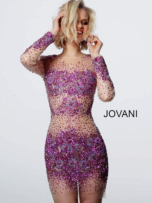 Jovani Mesh Beaded Cocktail Dress