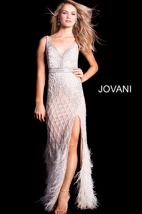 Jovani Bead and Feather Gown