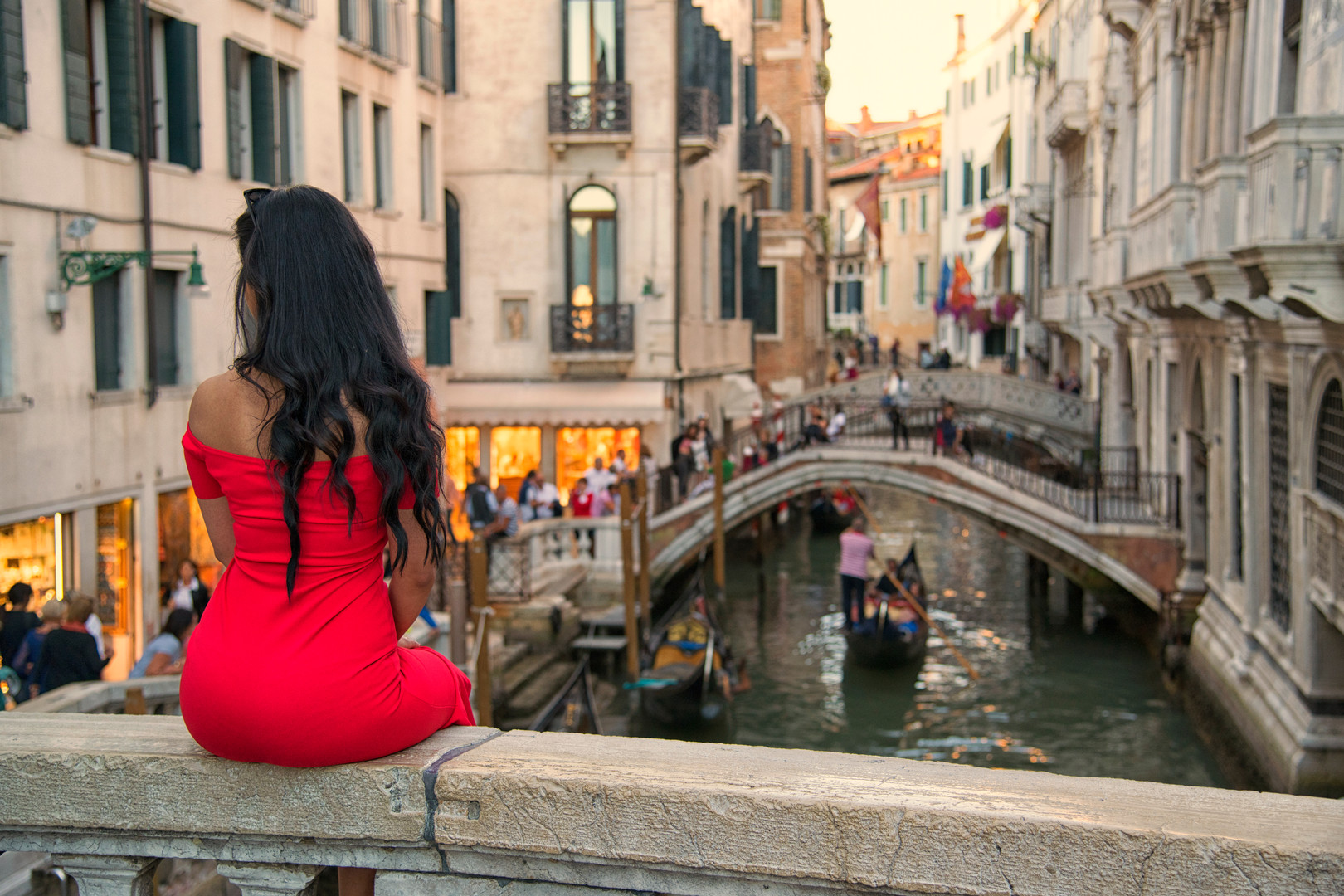 The Girl in the red dress - Venice - A.j