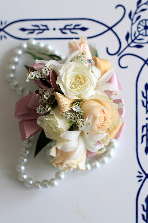 White pearl wristlet corsage