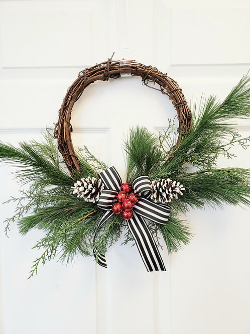 Fresh holiday wreath kit
