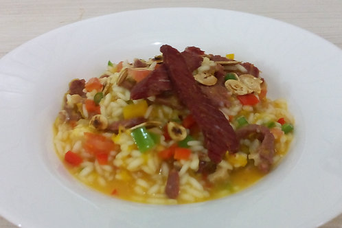 Risoto de carne seca com abobora - 300g