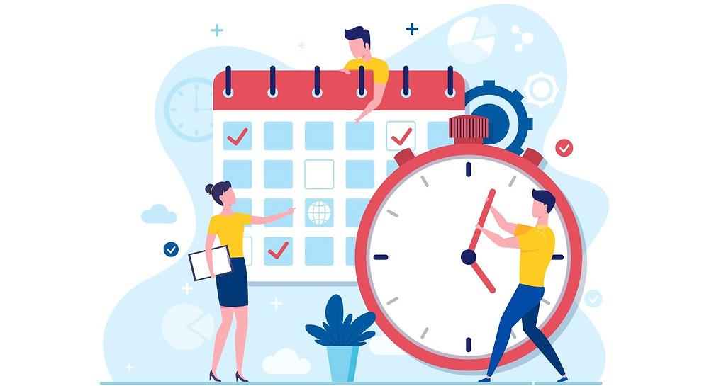 Personnes qui manipulent un calendrier et une horloge
