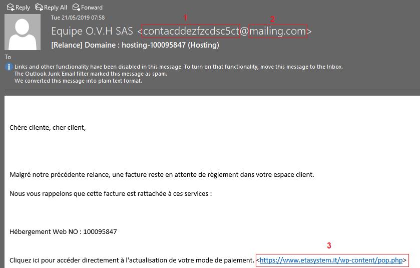 Exemple de courriel frauduleux