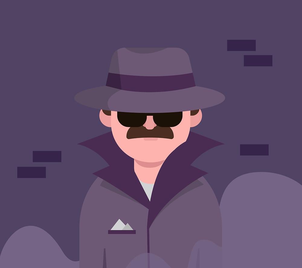 Homme avec un chapeau, homme espion.