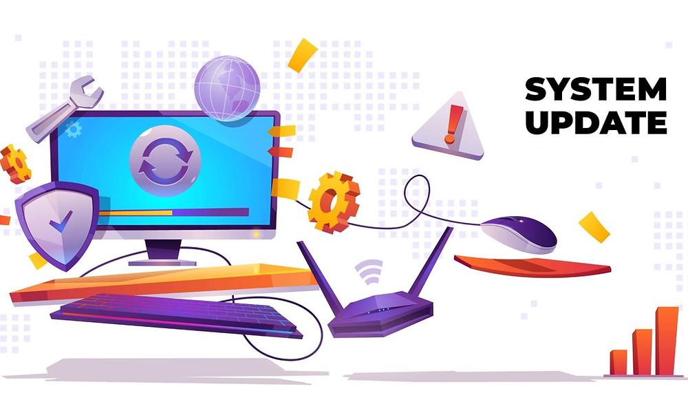 Ordinateur et icones informatique, texte de mise à jour système.