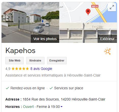 Exemple de la fiche google my business de Kapehos