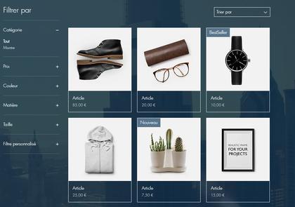 Impression écran d'un site e-commerce