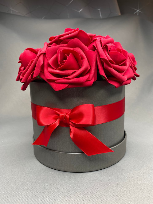 Grey Flower Hat Box - red roses with red ribbon