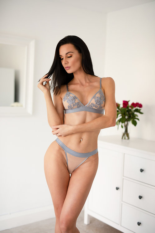 Lucy - Grey Floral Bralette
