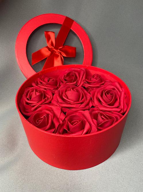 Rose filled Flower Hat Box - red roses
