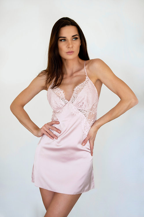 Rose - Baby pink lace trim chemise