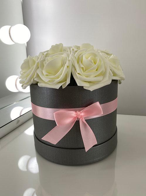 Grey Flower Hat Box - White Roses