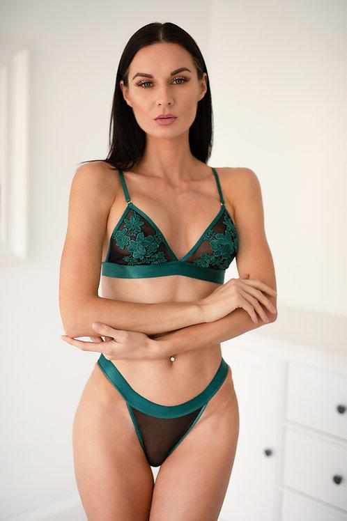 Jade - Green Floral Bralette