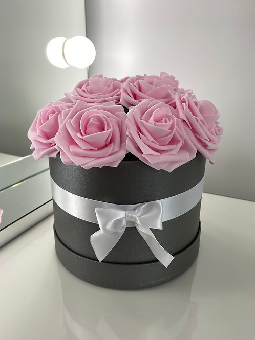 Grey Flower Hat Box - Pink Roses
