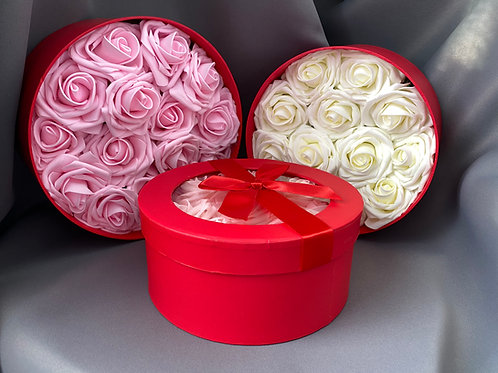 Rose filled Flower Hat Box - various colours