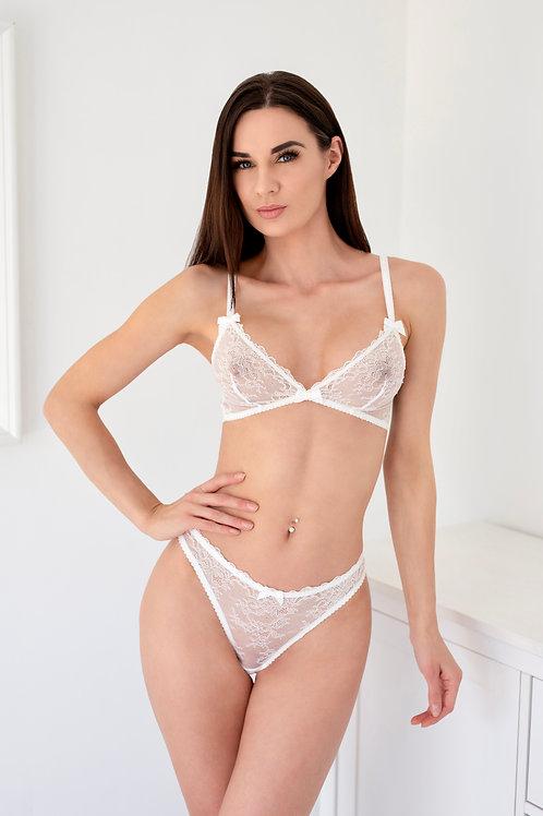 Mia - White Lace Bralette