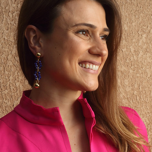 Brinco Isabel Miçangas Blue