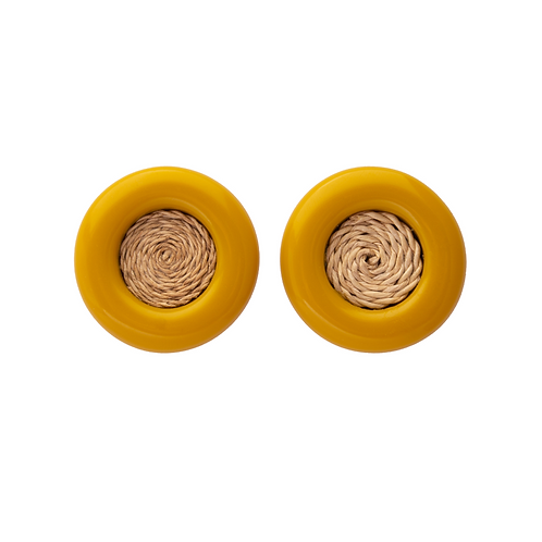 Brinco Botão Fibra Amarelo