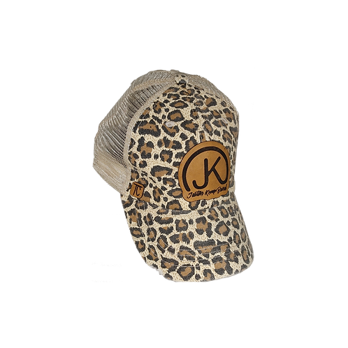 Leopard Ponytail Cap w/LeatherLogo
