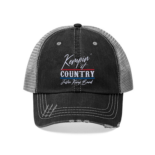 Kempin' It Country Trucker Hat (Red/White/Blue)
