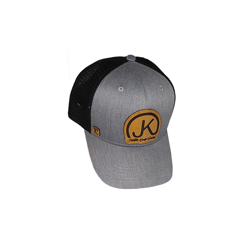 Gray on Black Leather Logo Cap