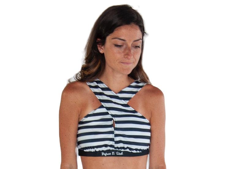 Refuse to Sink women's high waisted bikini Top striped