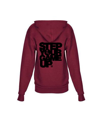 Step Your Game Up Youth Zip up Hoody Maroon