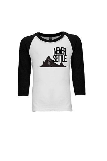 Never Settle Youth 3/4 Sleeve Raglan White/Black