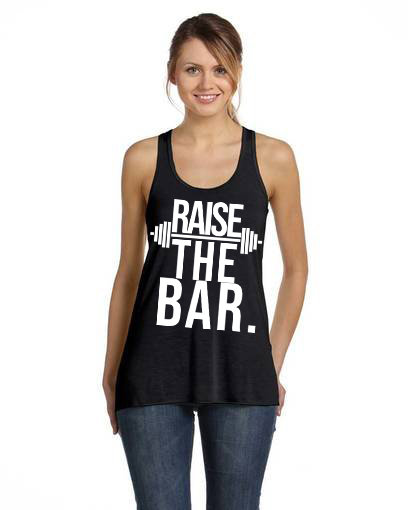 Raise The Bar  Ladies Racerback Flow Tank