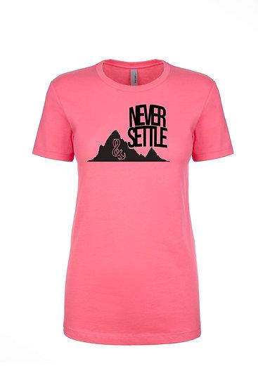 Never Settle Boyfriend Tee Hot Pink